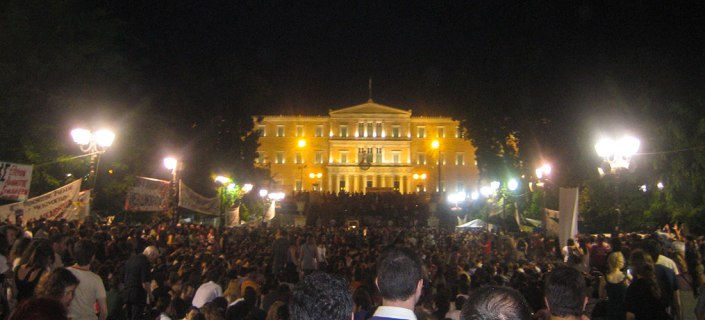"The movement of the ""indignants"" in Athens resulted in some of the largest protest gatherings in modern Greek history during the spring and summer of 2011, and was largely organized via Facebook and other social media tools. Photo credit: Michael Nevradakis (6 June 2011)."