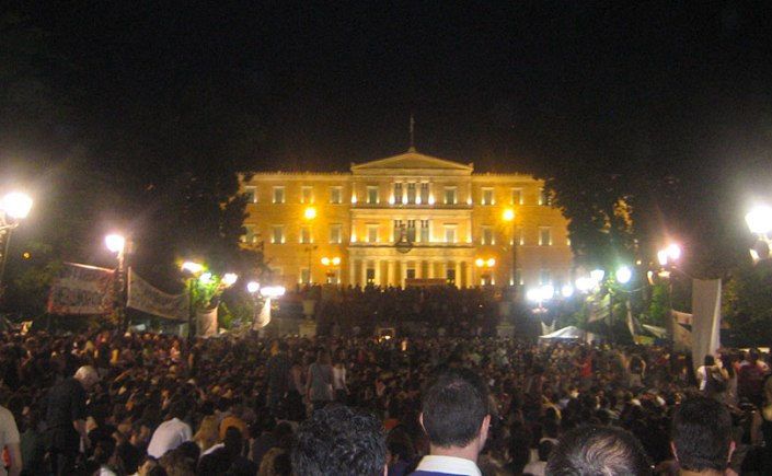 """The movement of the """"indignants"""" in Athens resulted in some of the largest protest gatherings in modern Greek history during the spring and summer of 2011, and was largely organized via Facebook and other social media tools. Photo credit: Michael Nevradakis (6 June 2011)."""