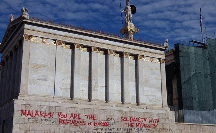 Graffiti on the building of the National Academy on Panepistimiou Avenue Photo: Julia Tulke/aestheticsofcrisis.org